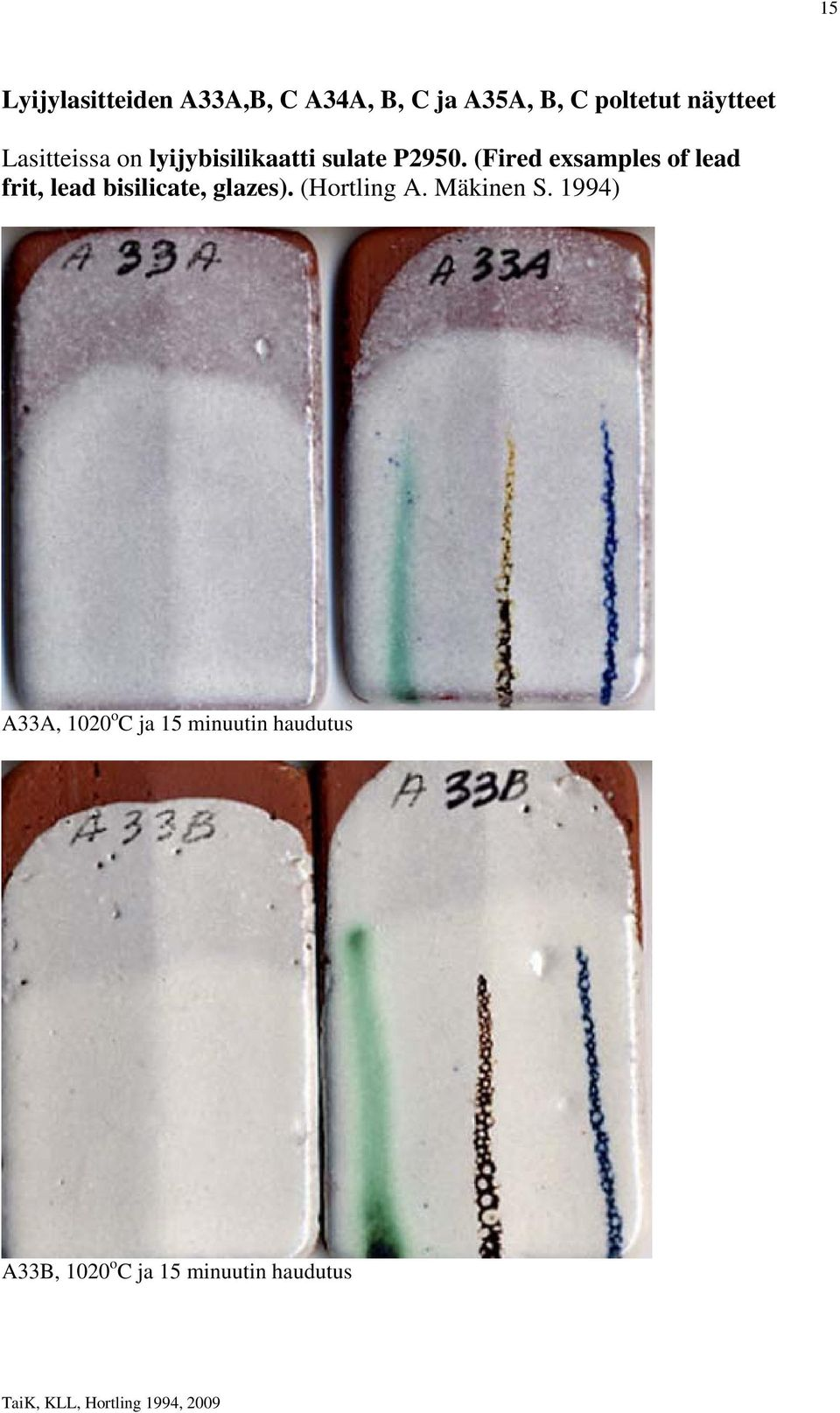 (Fired exsamples of lead frit, lead bisilicate, glazes). (Hortling A.