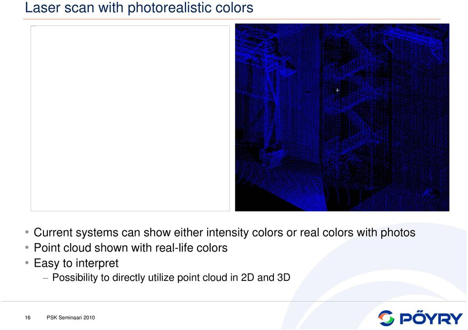 either intensity colors or real colors with photos Point cloud