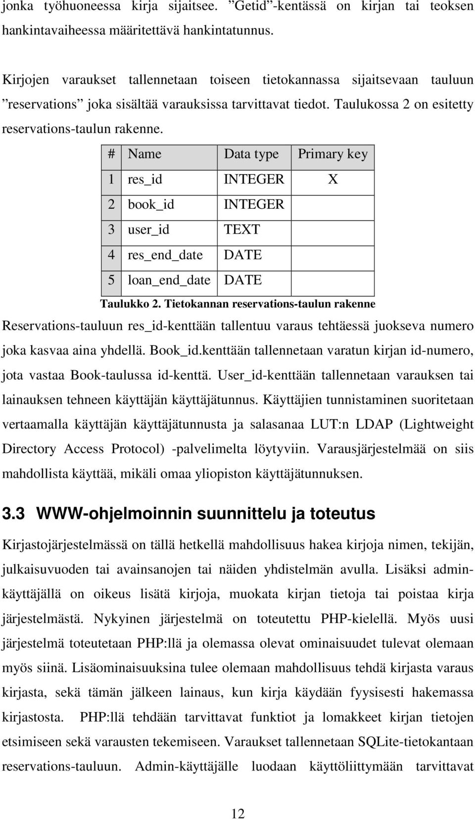 # Name Data type Primary key 1 res_id INTEGER X 2 book_id INTEGER 3 user_id TEXT 4 res_end_date DATE 5 loan_end_date DATE Taulukko 2.