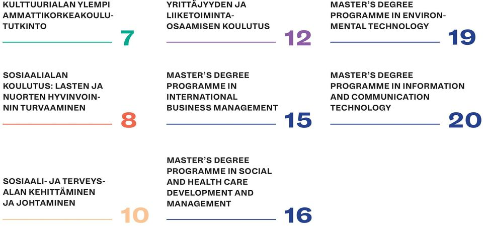 DEGREE PROGRAMME IN INTERNATIONAL BUSINESS MANAGEMENT 15 MASTER S DEGREE PROGRAMME IN INFORMATION AND COMMUNICATION TECHNOLOGY