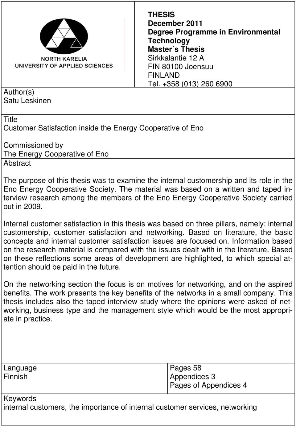 customership and its role in the Eno Energy Cooperative Society.