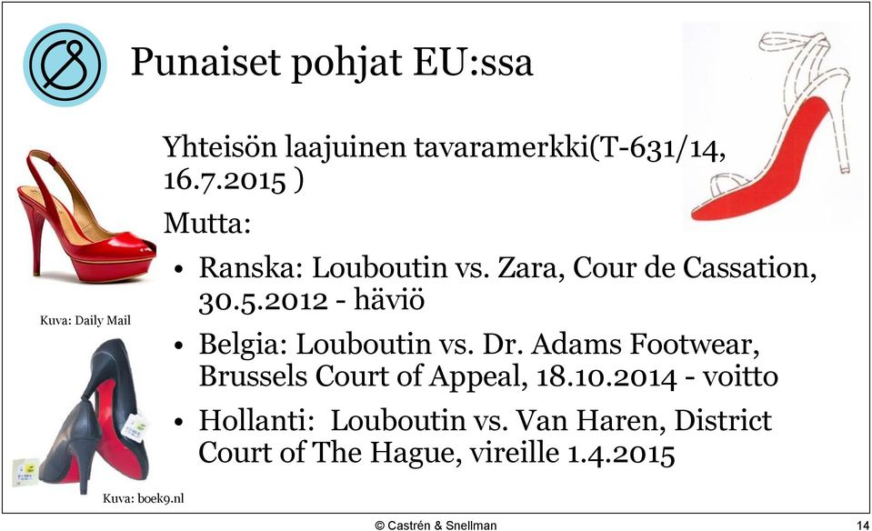 Dr. Adams Footwear, Brussels Court of Appeal, 18.10.2014 - voitto Hollanti: Louboutin vs.