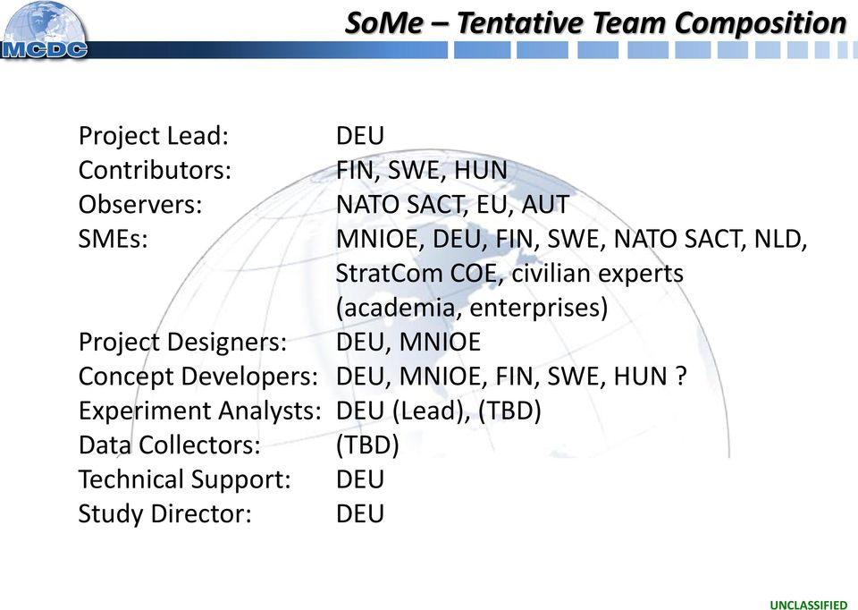 enterprises) Project Designers: DEU, MNIOE Concept Developers: DEU, MNIOE, FIN, SWE, HUN?