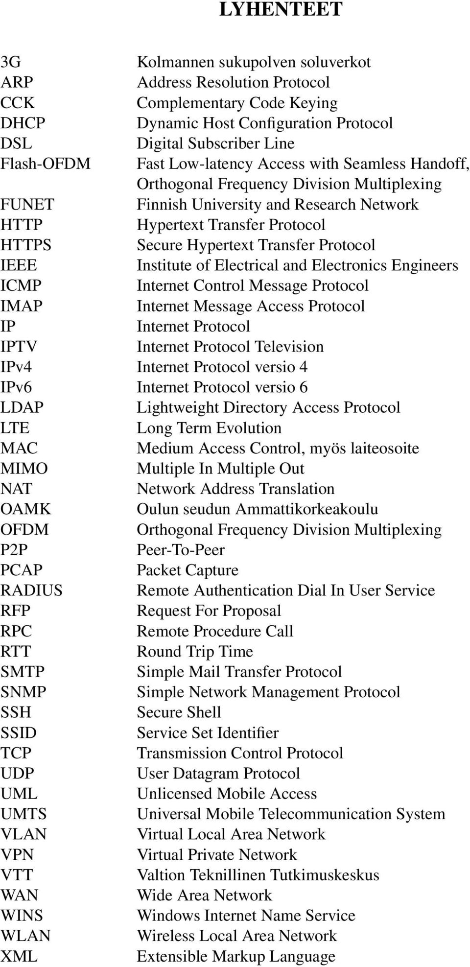 Protocol IEEE Institute of Electrical and Electronics Engineers ICMP Internet Control Message Protocol IMAP Internet Message Access Protocol IP Internet Protocol IPTV Internet Protocol Television