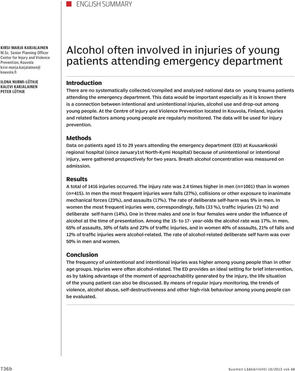and analyzed national data on young trauma patients attending the emergency department.