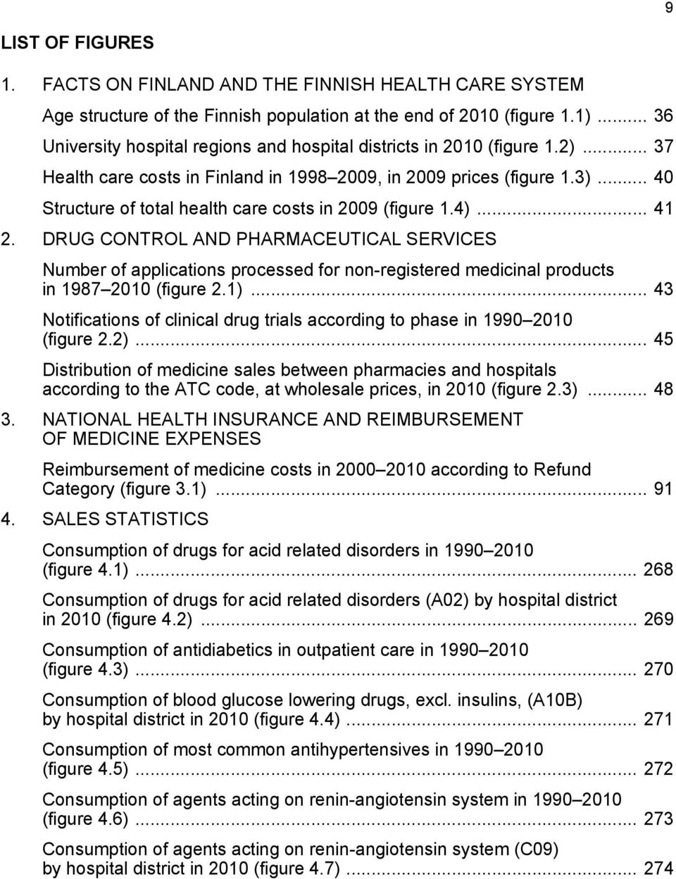 .. 40 Structure of total health care costs in 2009 (figure 1.4)... 41 2.
