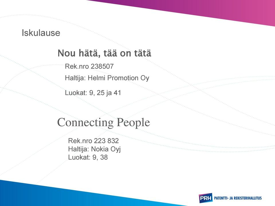 Luokat: 9, 25 ja 41 Connecting People