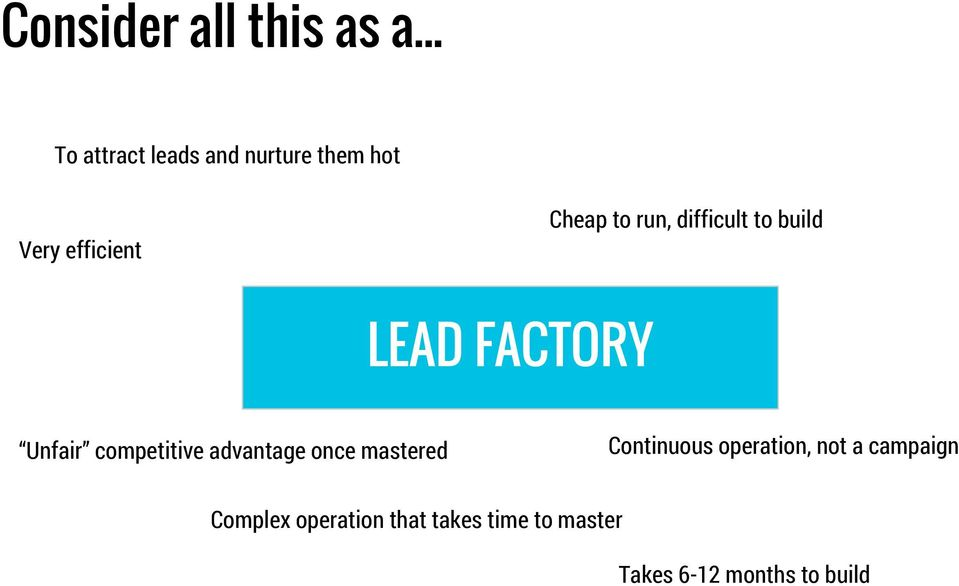 build Very efficient LEAD FACTORY Unfair competitive advantage once