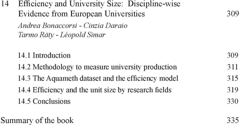 2 Methodology to measure university production 311 14.