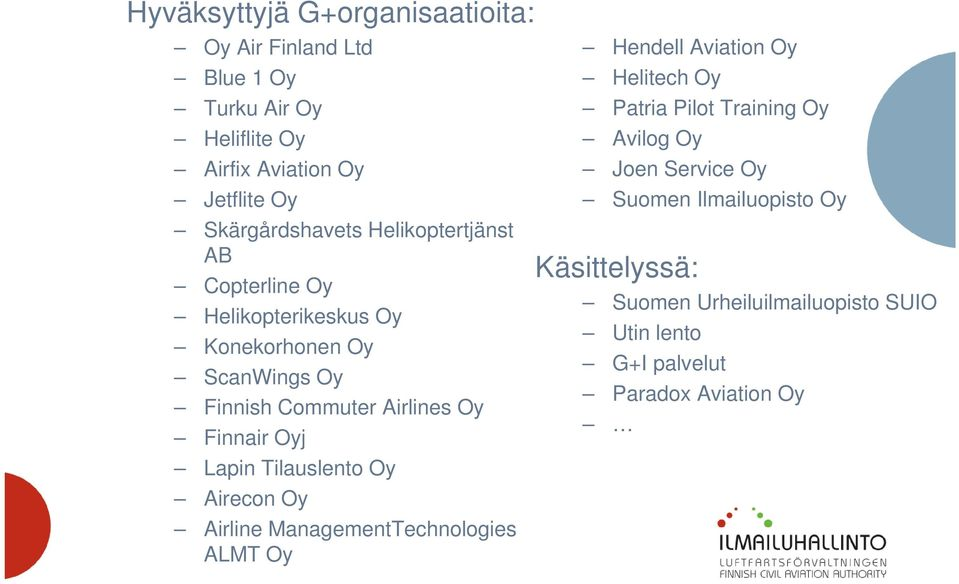 Finnair Oyj Lapin Tilauslento Oy Airecon Oy Airline ManagementTechnologies ALMT Oy Hendell Aviation Oy Helitech Oy Patria Pilot