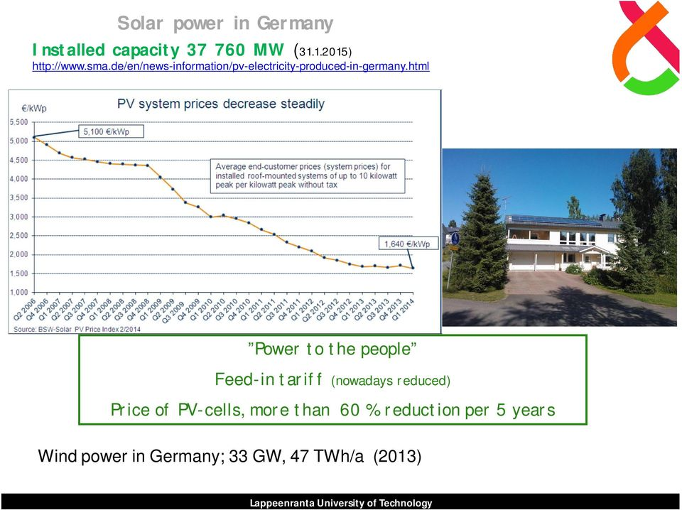 html Power to the people Feed-in tariff (nowadays reduced) Price of PV-cells, more
