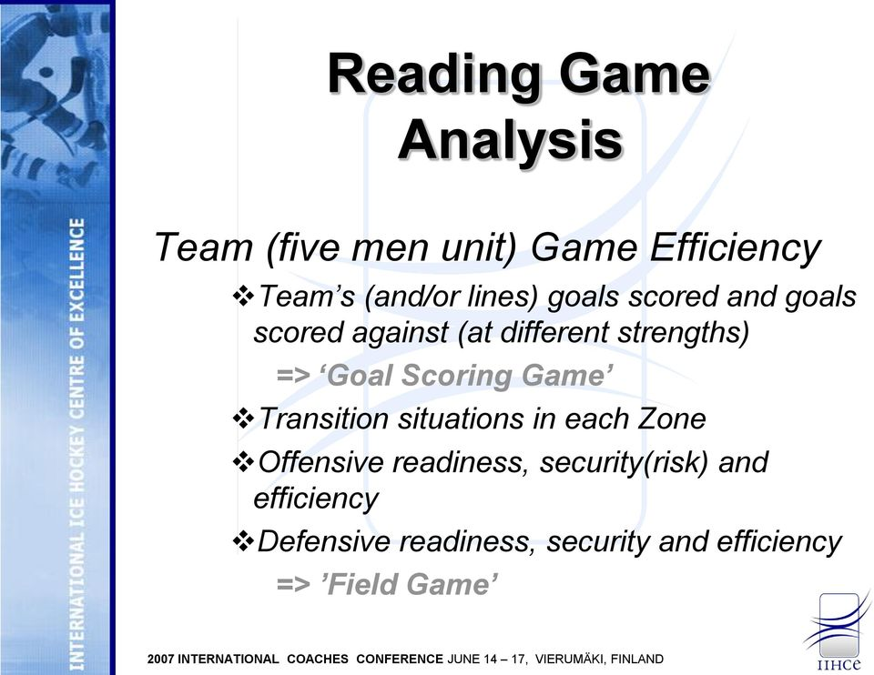 Scoring Game Transition situations in each Zone Offensive readiness,