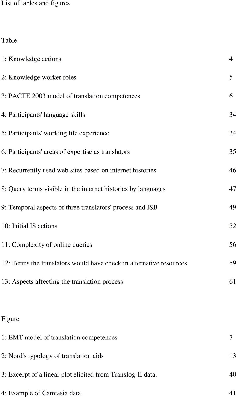 Temporal aspects of three translators' process and ISB 49 10: Initial IS actions 52 11: Complexity of online queries 56 12: Terms the translators would have check in alternative resources 59 13: