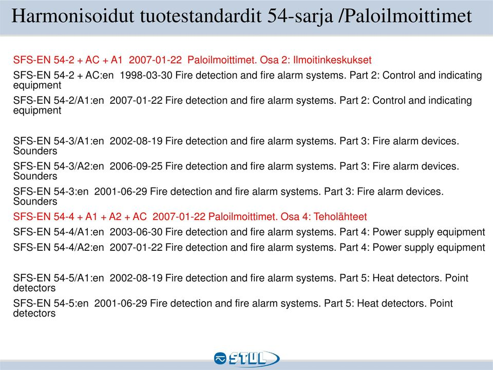 Part 2: Control and indicating equipment SFS-EN 54-3/A1:en 2002-08-19 Fire detection and fire alarm systems. Part 3: Fire alarm devices.