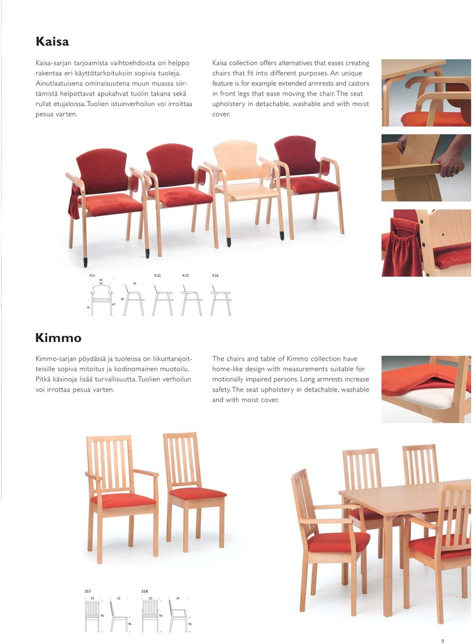 Kaisa collection offers alternatives that eases creating chairs that fit into different purposes.