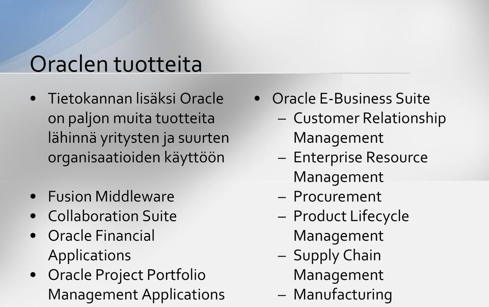 Project Portfolio Management Applications Oracle E-Business Suite Customer Relationship Management