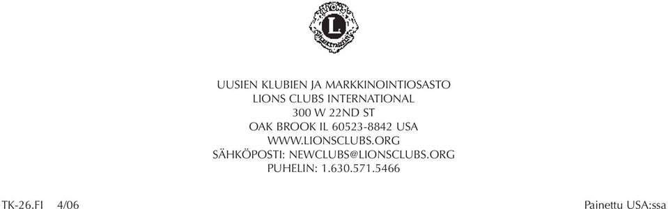 USA WWW.LIONSCLUBS.