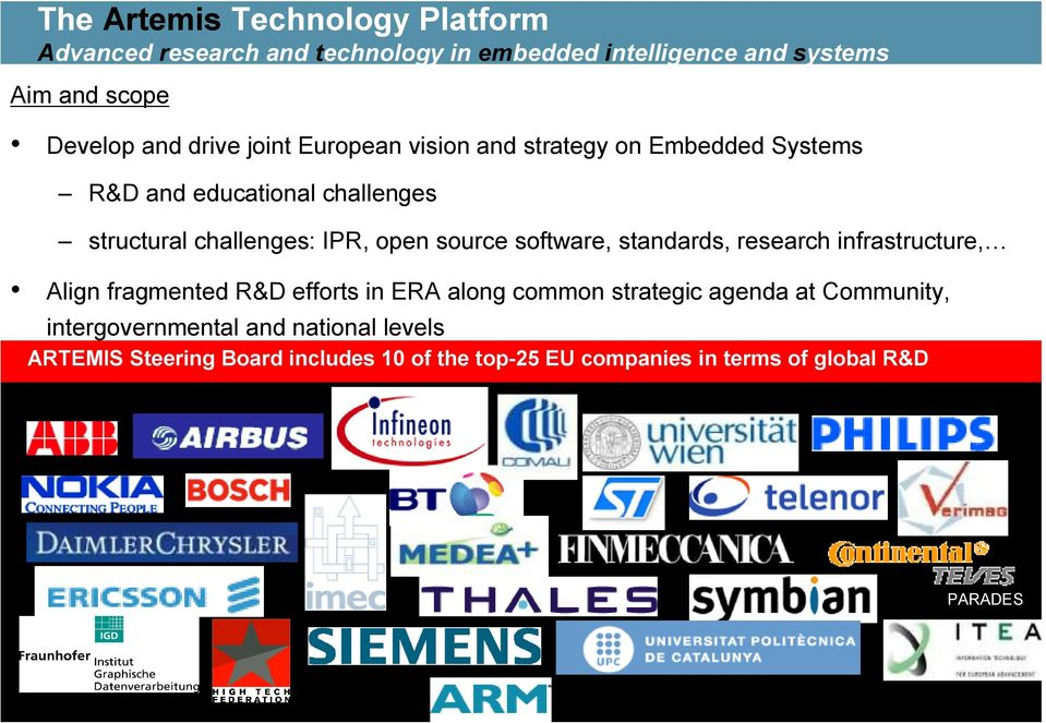 source software, standards, research infrastructure, Align fragmented R&D efforts in ERA along common strategic agenda at