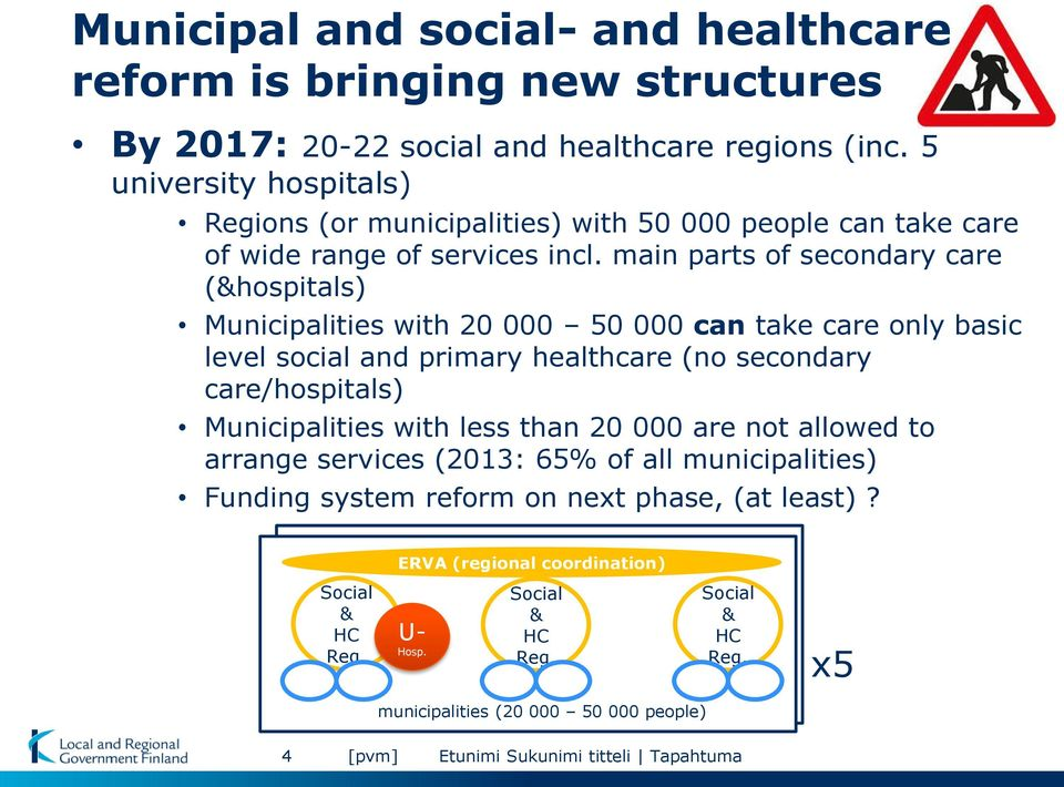main parts of secondary care (&hospitals) Municipalities with 20 000 50 000 can take care only basic level social and primary healthcare (no secondary care/hospitals) Municipalities
