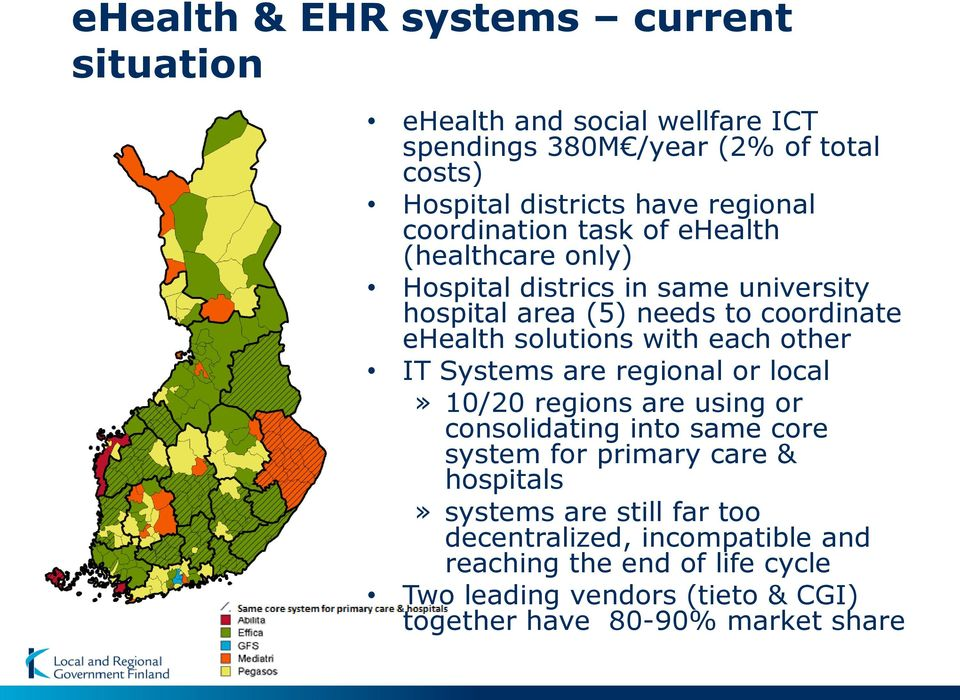 each other IT Systems are regional or local» 10/20 regions are using or consolidating into same core system for primary care & hospitals» systems