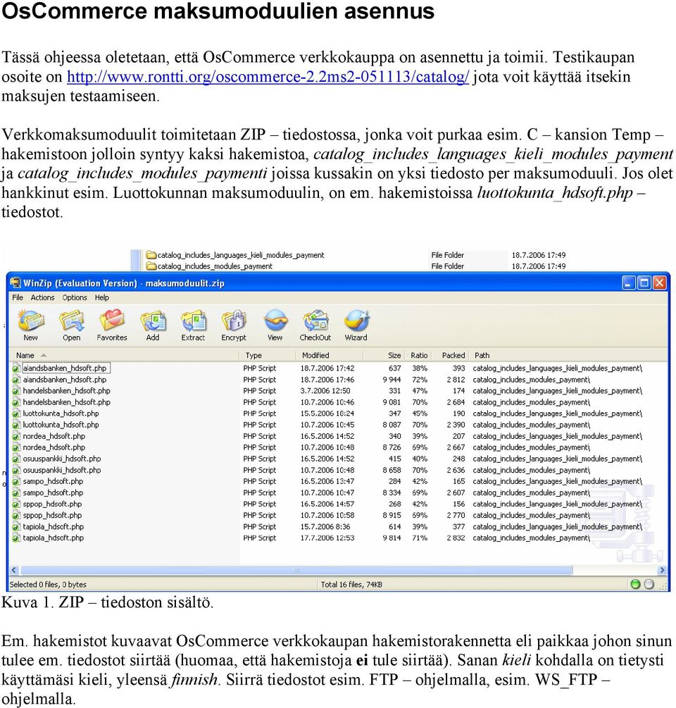 C kansion Temp hakemistoon jolloin syntyy kaksi hakemistoa, catalog_includes_languages_kieli_modules_payment ja catalog_includes_modules_paymenti joissa kussakin on yksi tiedosto per maksumoduuli.