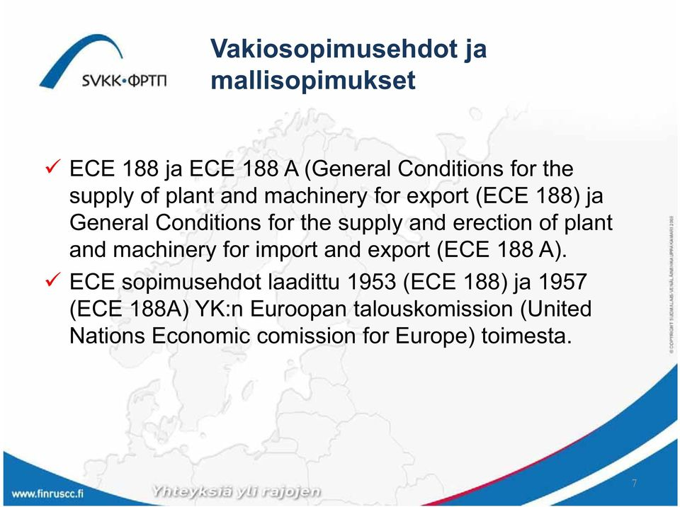 plant and machinery for import and export (ECE 188 A).