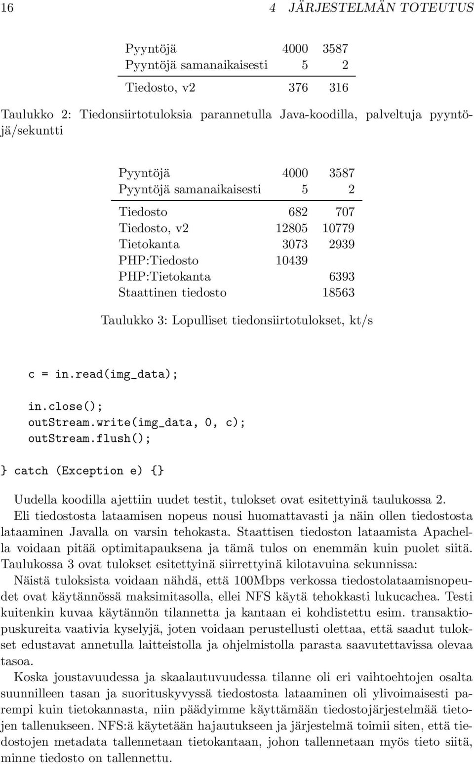 tiedonsiirtotulokset, kt/s c = in.read(img_data); in.close(); outstream.write(img_data, 0, c); outstream.