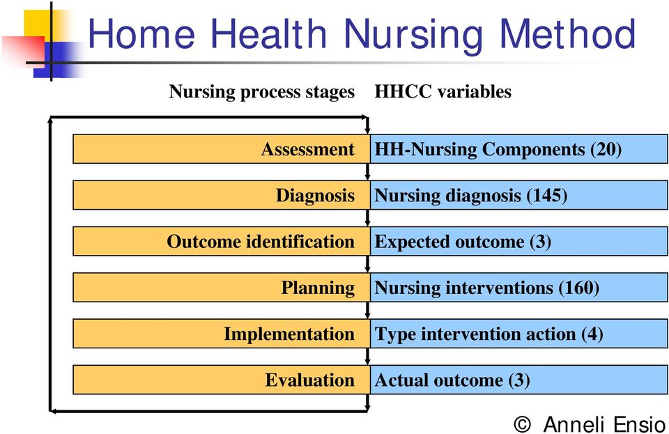 Evaluation HH-Nursing Components (20) Nursing diagnosis (145) Expected