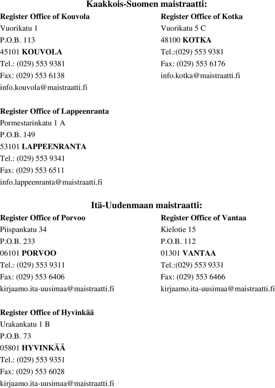 : (029) 553 9341 Fax: (029) 553 6511 info.lappeenranta@maistraatti.fi Itä-Uudenmaan maistraatti: Register Office of Porvoo Register Office of Vantaa Piispankatu 34 Kielotie 15 P.O.B.