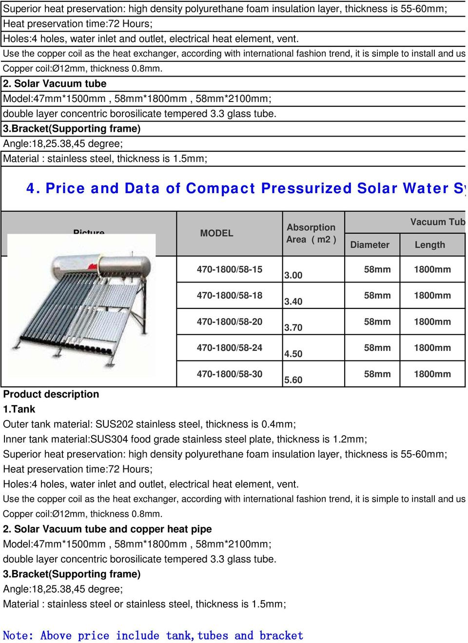 Solar Vacuum tube Model:47mm*1500mm, *, *2100mm; double layer concentric borosilicate tempered 3.3 glass tube. 3.Bracket(Supporting frame) Angle:18,25.