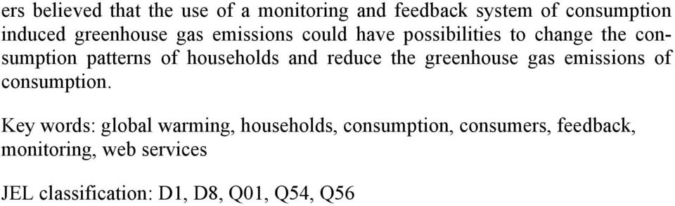 households and reduce the greenhouse gas emissions of consumption.