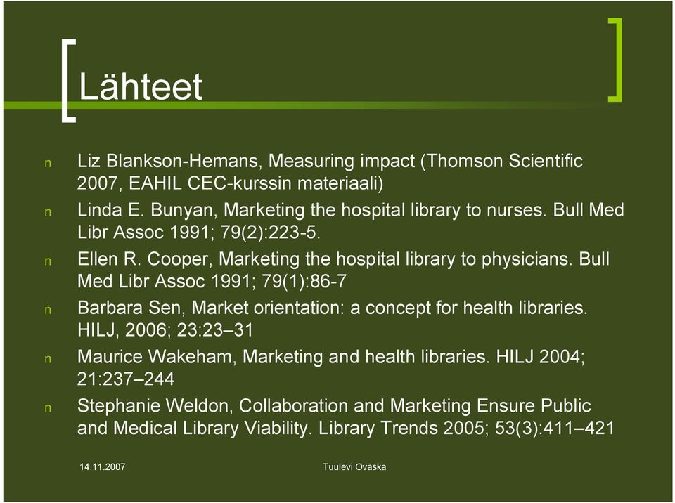 Cooper, Marketing the hospital library to physicians.