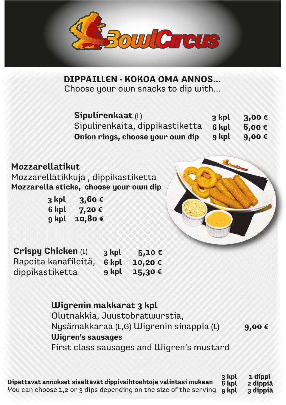 sticks, choose your own dip 3 kpl 3,60 6 kpl 7,20 9 kpl 10,80 Crispy Chicken (L) Rapeita kanafileitä, dippikastiketta 3 kpl 5,10 6 kpl 10,20 9 kpl 15,30 Wigrenin makkarat 3 kpl