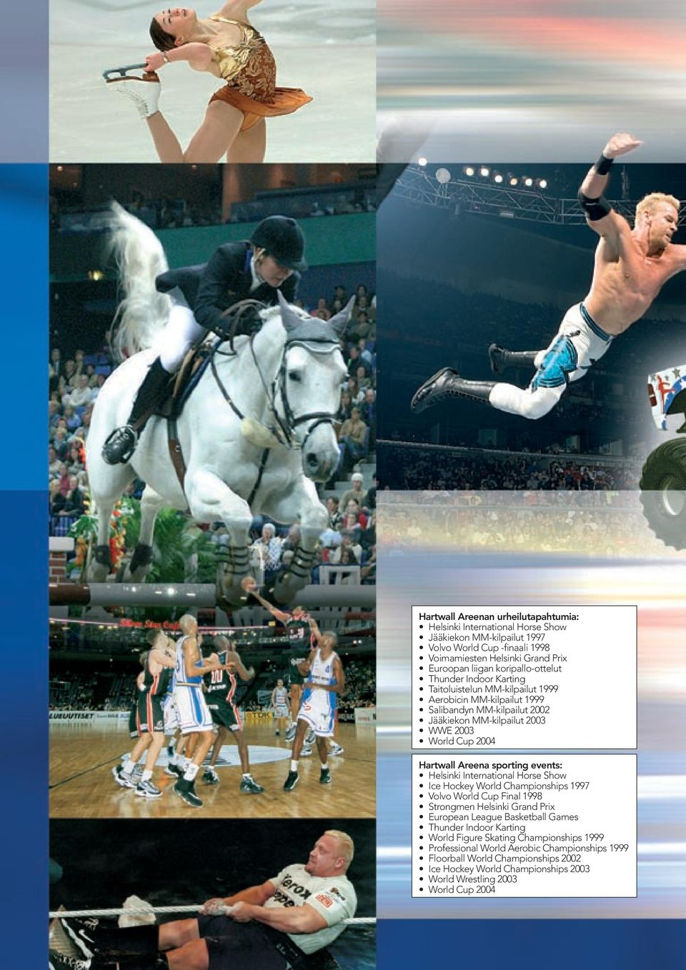 Areena sporting events: Helsinki International Horse Show Ice Hockey World Championships 1997 Volvo World Cup Final 1998 Strongmen Helsinki Grand Prix European League Basketball Games Thunder