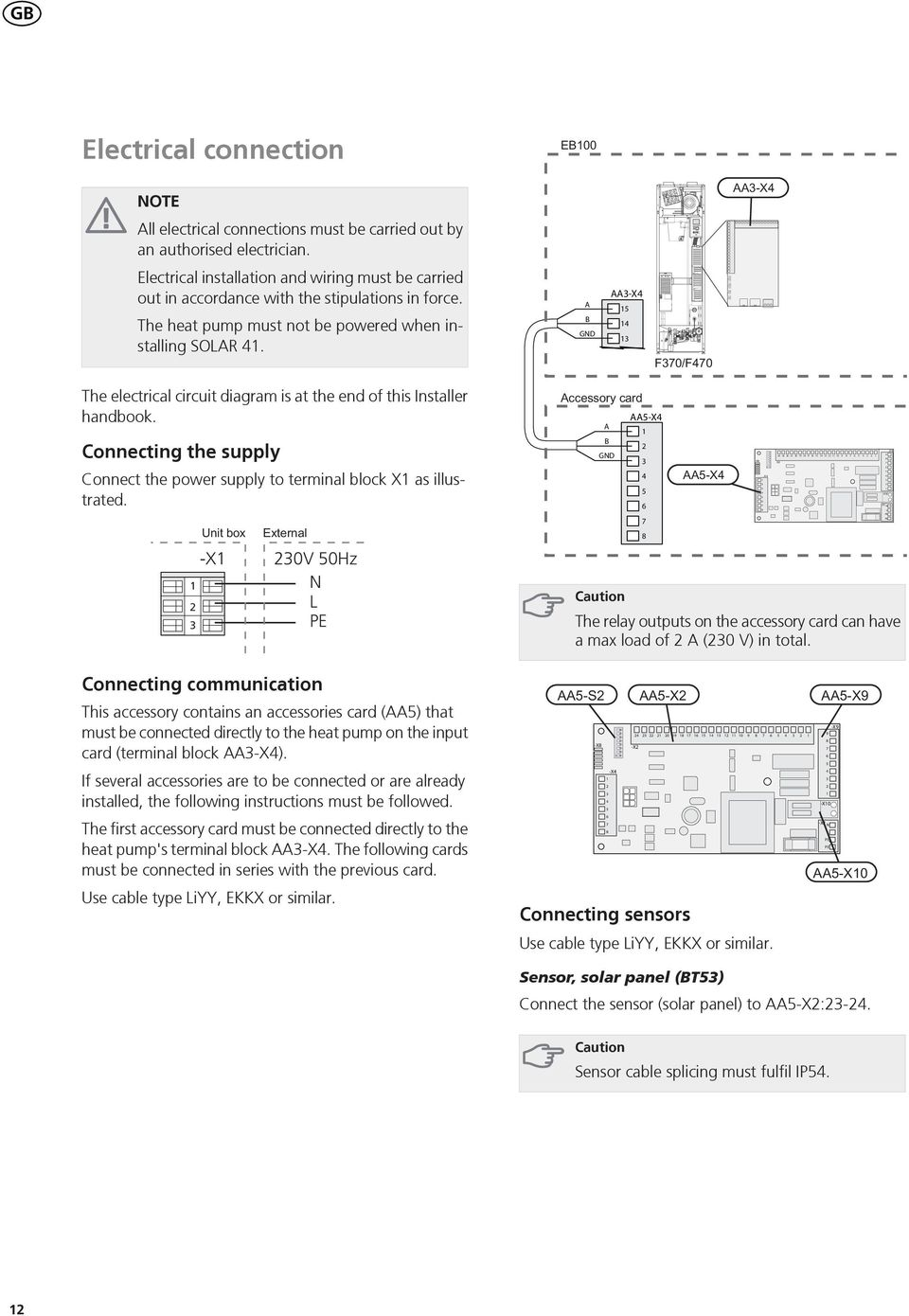 A B GND AA-X The electrical circuit diagram is at the end of this Installer handbook. Connecting the supply Connect the power supply to terminal block X as illustrated.