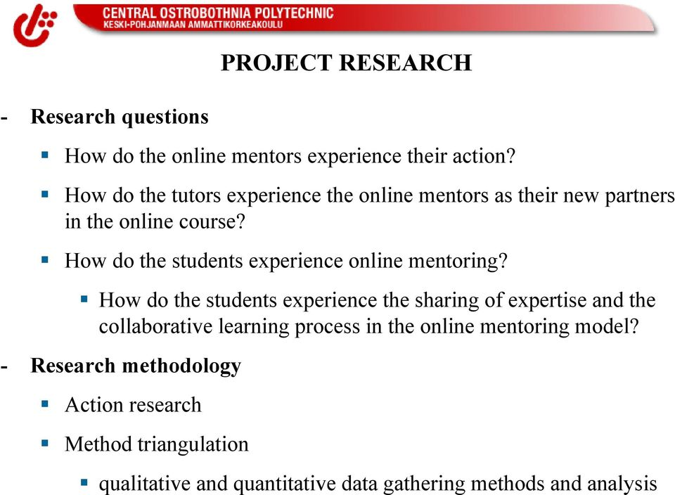 How do the students experience online mentoring?