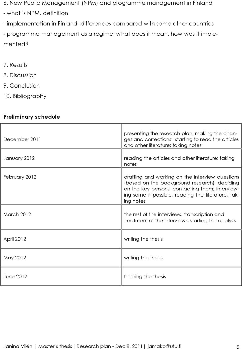 Bibliography Preliminary schedule December 2011 January 2012 February 2012 March 2012 presenting the research plan, making the changes and corrections; starting to read the articles and other