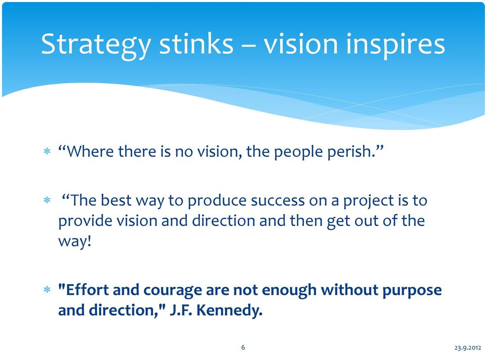 The best way to produce success on a project is to provide vision