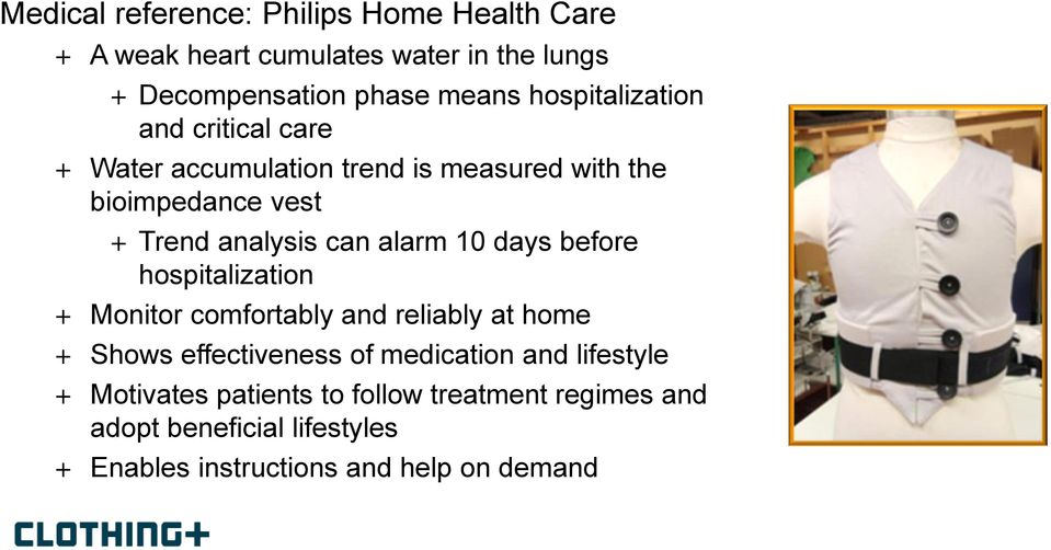 alarm 10 days before hospitalization + Monitor comfortably and reliably at home + Shows effectiveness of medication and