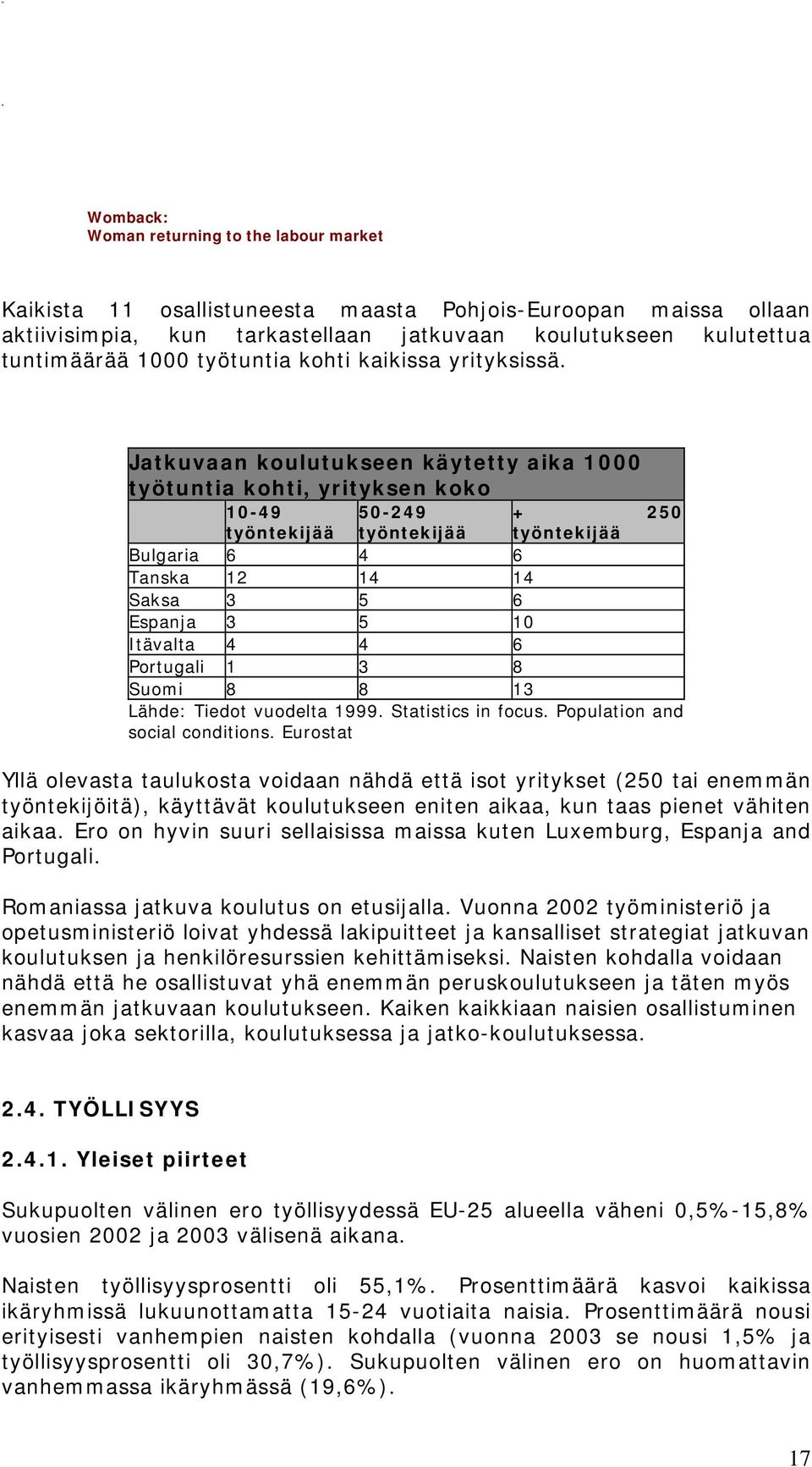 6 Portugali 1 3 8 Suomi 8 8 13 Lähde: Tiedot vuodelta 1999. Statistics in focus. Population and social conditions.