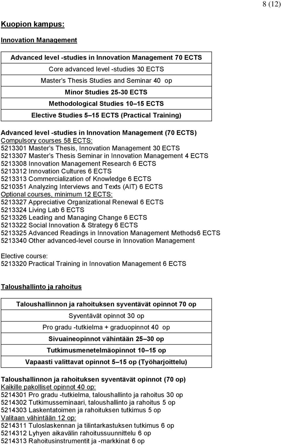 Thesis, Innovation Management 30 ECTS 5213307 Master s Thesis Seminar in Innovation Management 4 ECTS 5213308 Innovation Management Research 6 ECTS 5213312 Innovation Cultures 6 ECTS 5213313