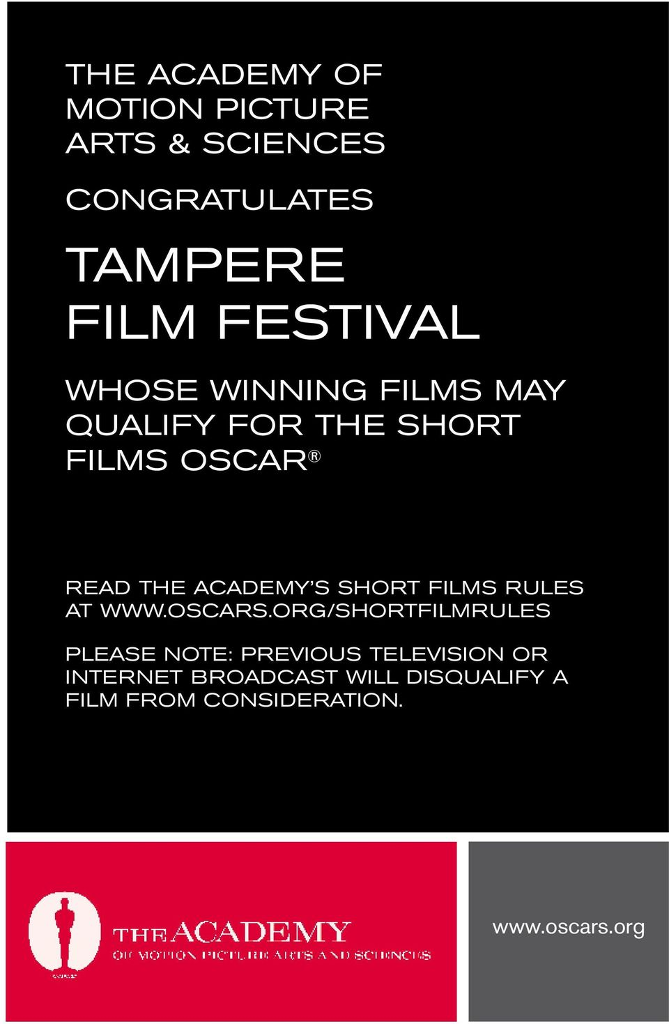 ACADEMY S SHORT FILMS RULES AT WWW.OSCARS.