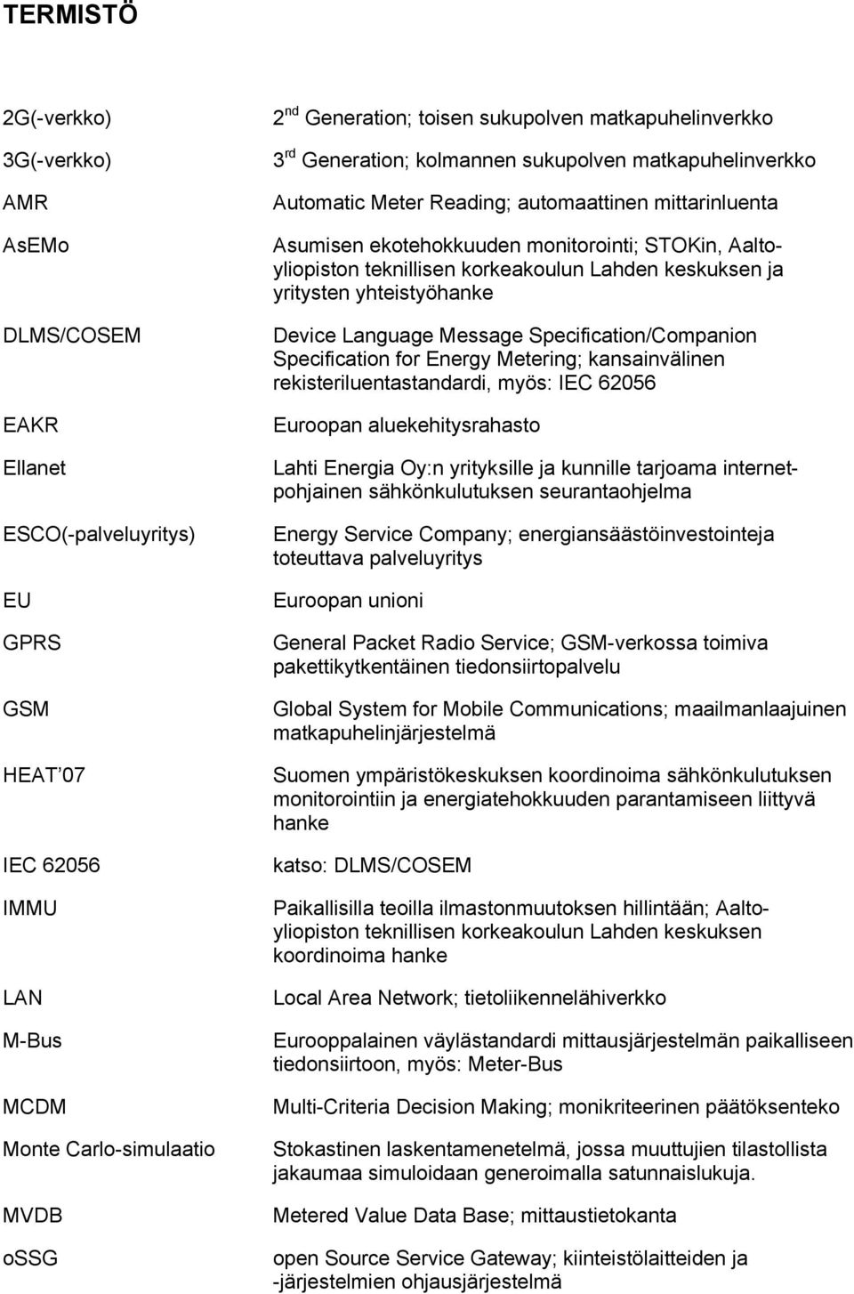 Aaltoyliopiston teknillisen korkeakoulun Lahden keskuksen ja yritysten yhteistyöhanke Device Language Message Specification/Companion Specification for Energy Metering; kansainvälinen