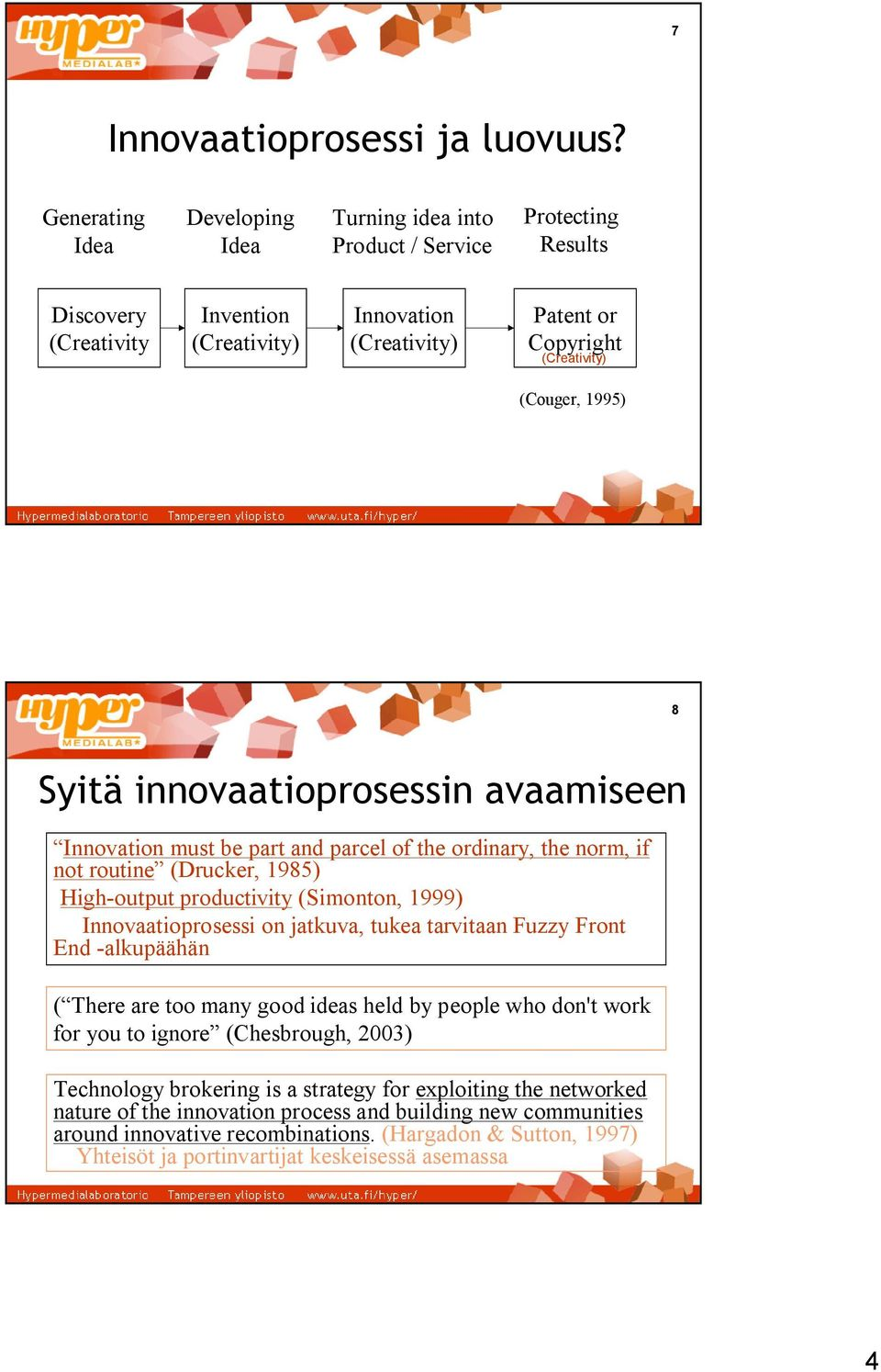 1995) 8 Syitä innovaatioprosessin avaamiseen Innovation must be part and parcel of the ordinary, the norm, if not routine (Drucker, 1985) High output productivity (Simonton, 1999) Innovaatioprosessi
