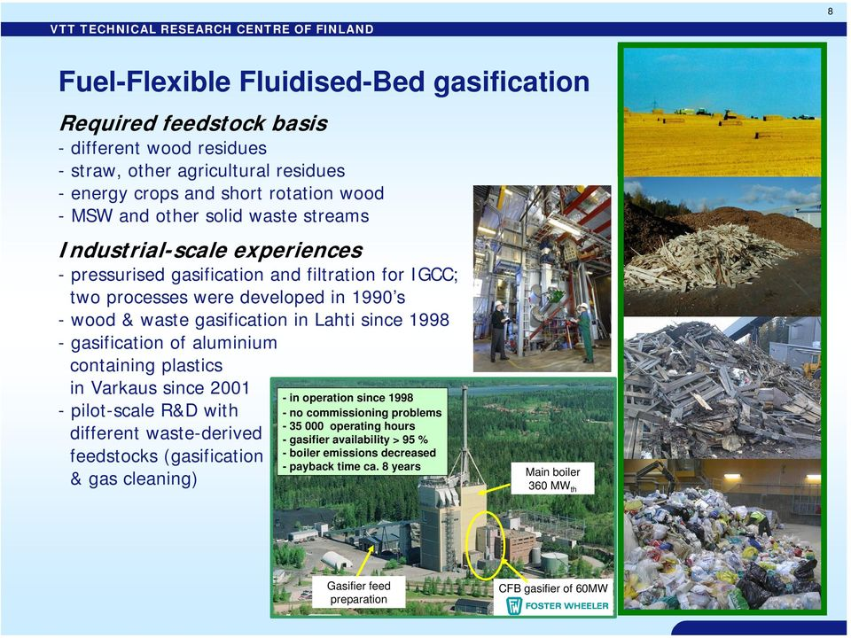 gasification of aluminium containing plastics in Varkaus since 2001 - pilot-scale R&D with different waste-derived feedstocks (gasification & gas cleaning) - in operation since 1998 - no