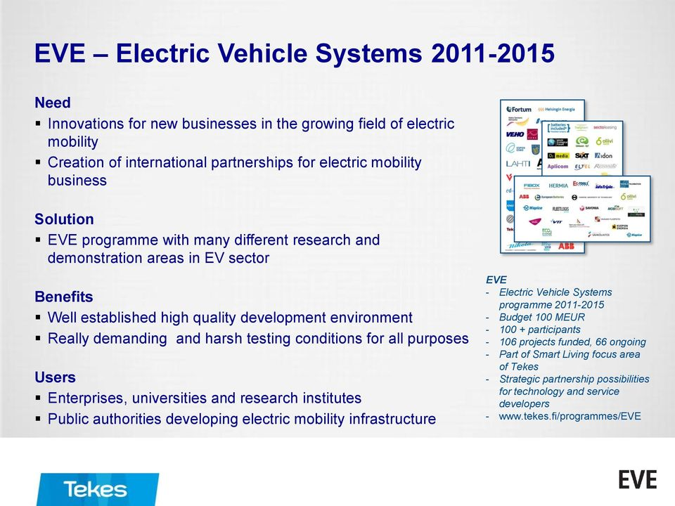purposes Users Enterprises, universities and research institutes Public authorities developing electric mobility infrastructure EVE - Electric Vehicle Systems programme 2011-2015 - Budget 100 MEUR -