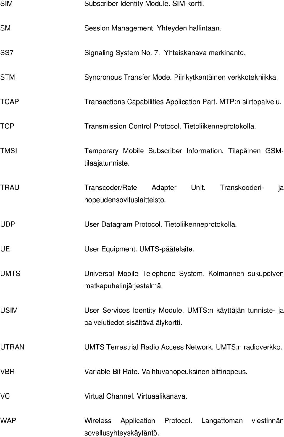 TMSI Temporary Mobile Subscriber Information. Tilapäinen GSMtilaajatunniste. TRAU Transcoder/Rate Adapter Unit. Transkooderi- ja nopeudensovituslaitteisto. UDP User Datagram Protocol.