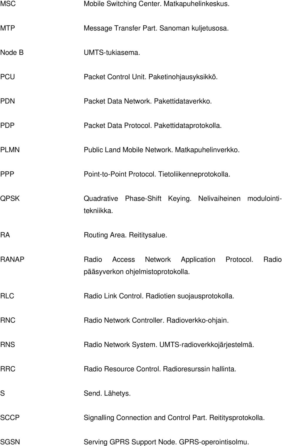 QPSK Quadrative Phase-Shift Keying. Nelivaiheinen modulointitekniikka. RA Routing Area. Reititysalue. RANAP Radio Access Network Application Protocol. Radio pääsyverkon ohjelmistoprotokolla.