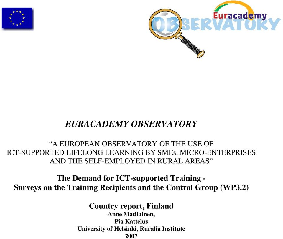 ICT-supported Training - Surveys on the Training Recipients and the Control Group (WP3.