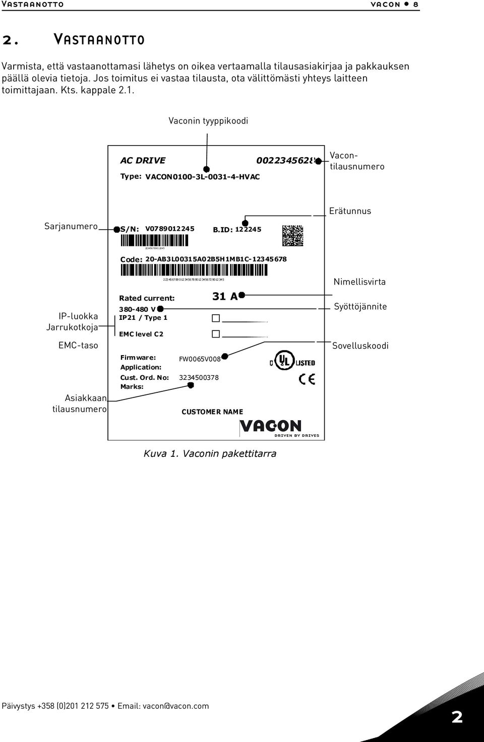 Vaconin type tyyppikoodi code AC DRIVE 0022345628 Type: VACON0100-3L-0031-4-HVAC Vacontilausnumero Vacon order number Serial Sarjanumero number S/N: V0789012245 B.